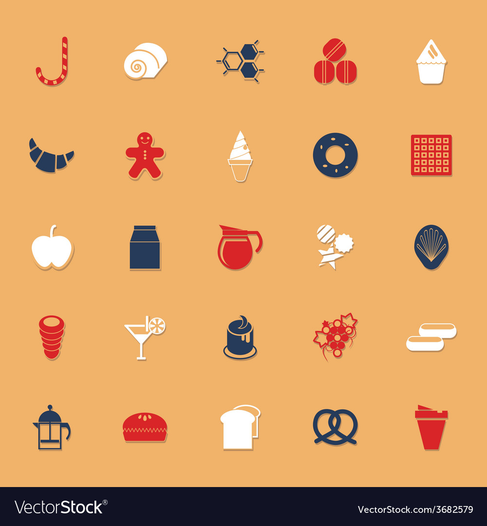 Sweet food classic color icons with shadow vector | Price: 1 Credit (USD $1)