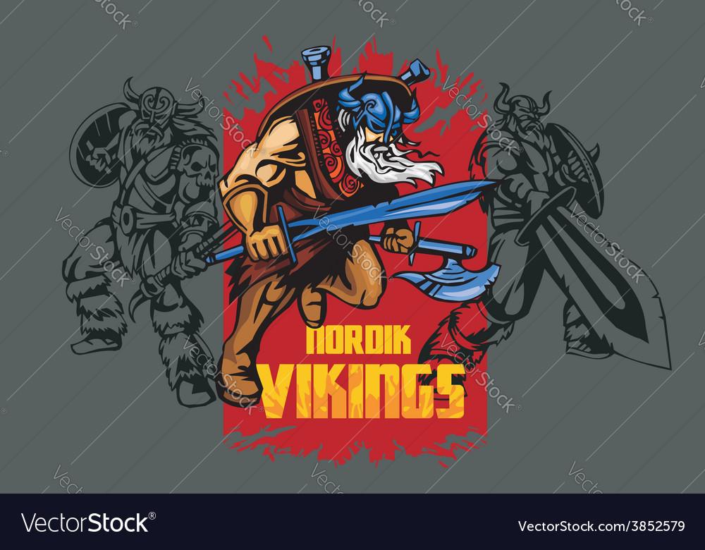 Viking warrior with big sword vector | Price: 3 Credit (USD $3)