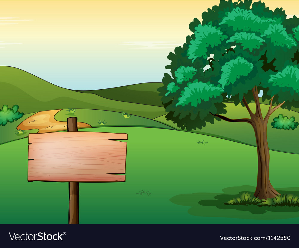 A blank signboard and a tree vector | Price: 1 Credit (USD $1)