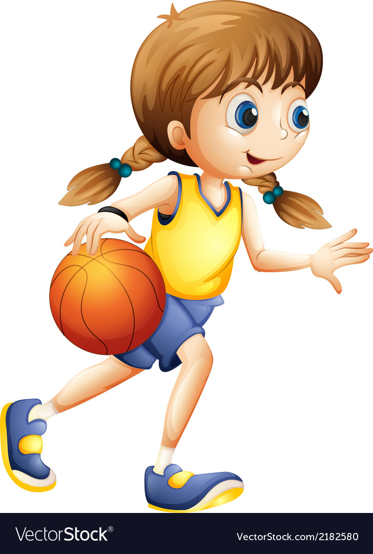 A cute young lady playing basketball vector | Price: 1 Credit (USD $1)