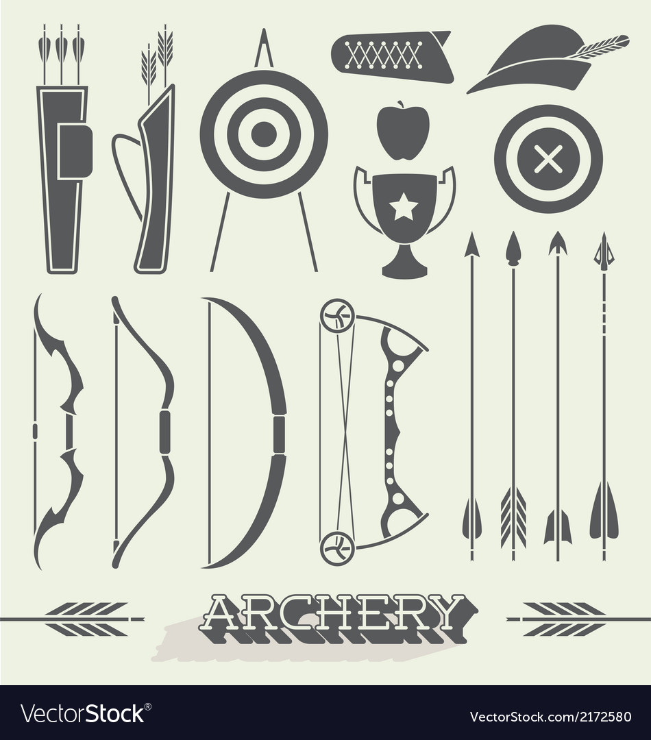 Archery icons and silhouettes vector | Price: 1 Credit (USD $1)