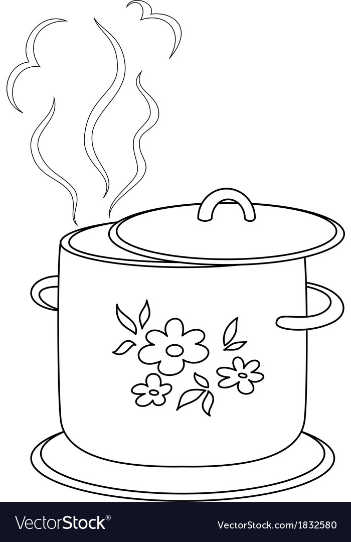Boiling pan with pattern contours vector | Price: 1 Credit (USD $1)