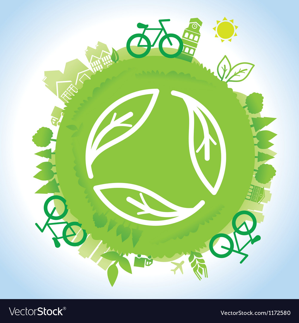 Ecology concept - planet with green recycle vector | Price: 1 Credit (USD $1)