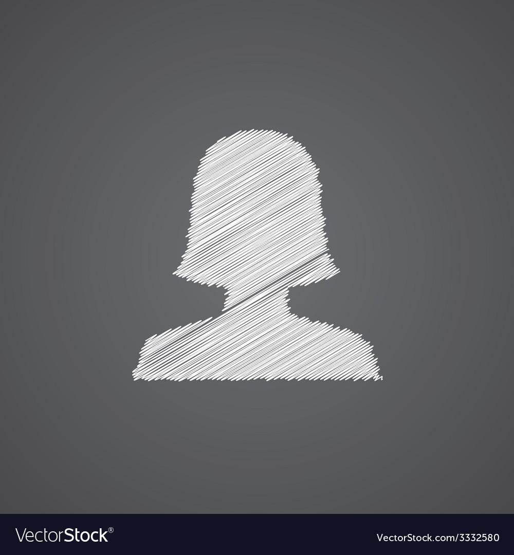 Female profile sketch logo doodle icon vector | Price: 1 Credit (USD $1)