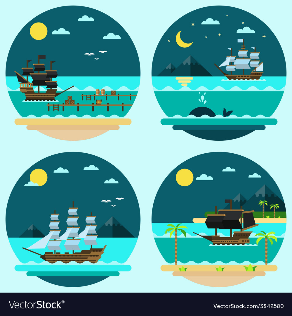 Flat design of pirate ships sailing vector | Price: 1 Credit (USD $1)