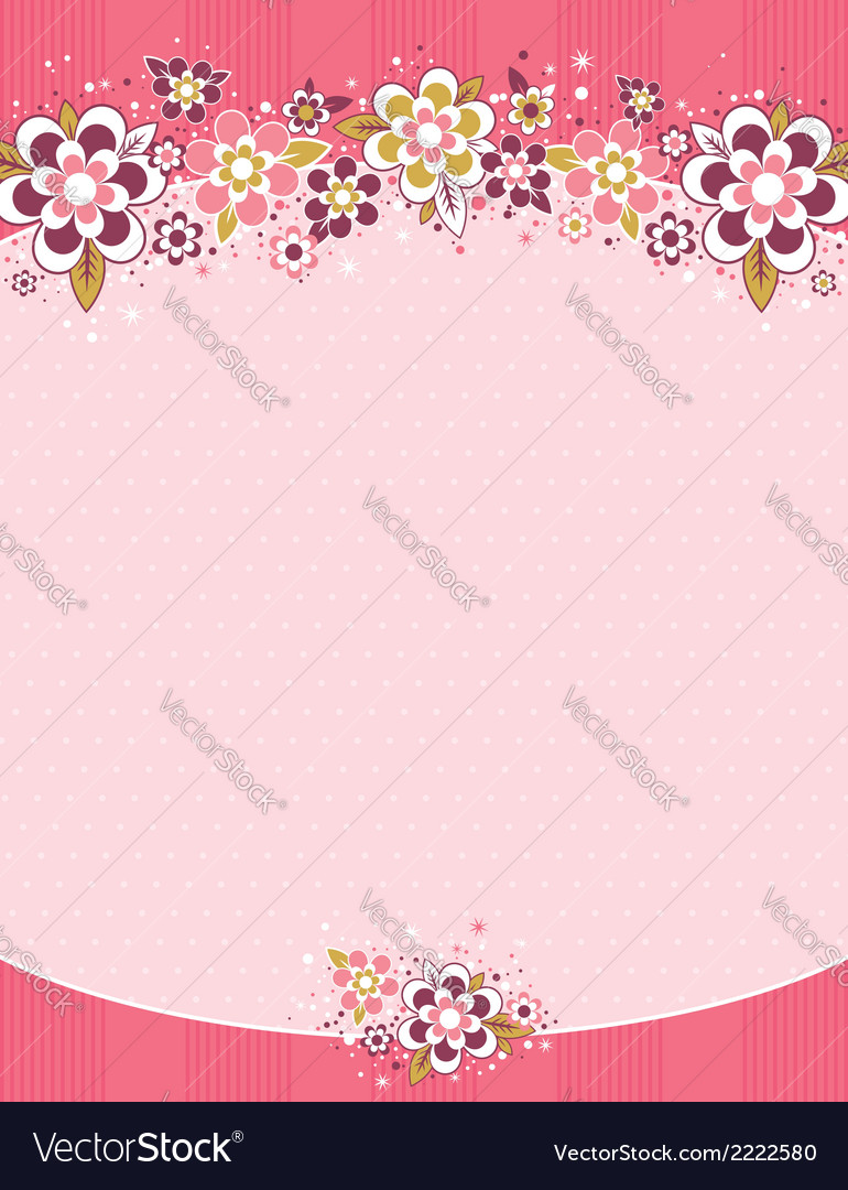 Frame with flowers on background with dots vector | Price: 1 Credit (USD $1)