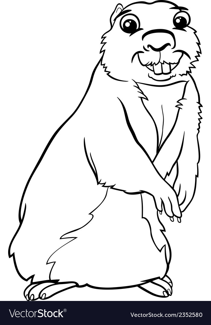 Gopher animal cartoon coloring page vector | Price: 1 Credit (USD $1)