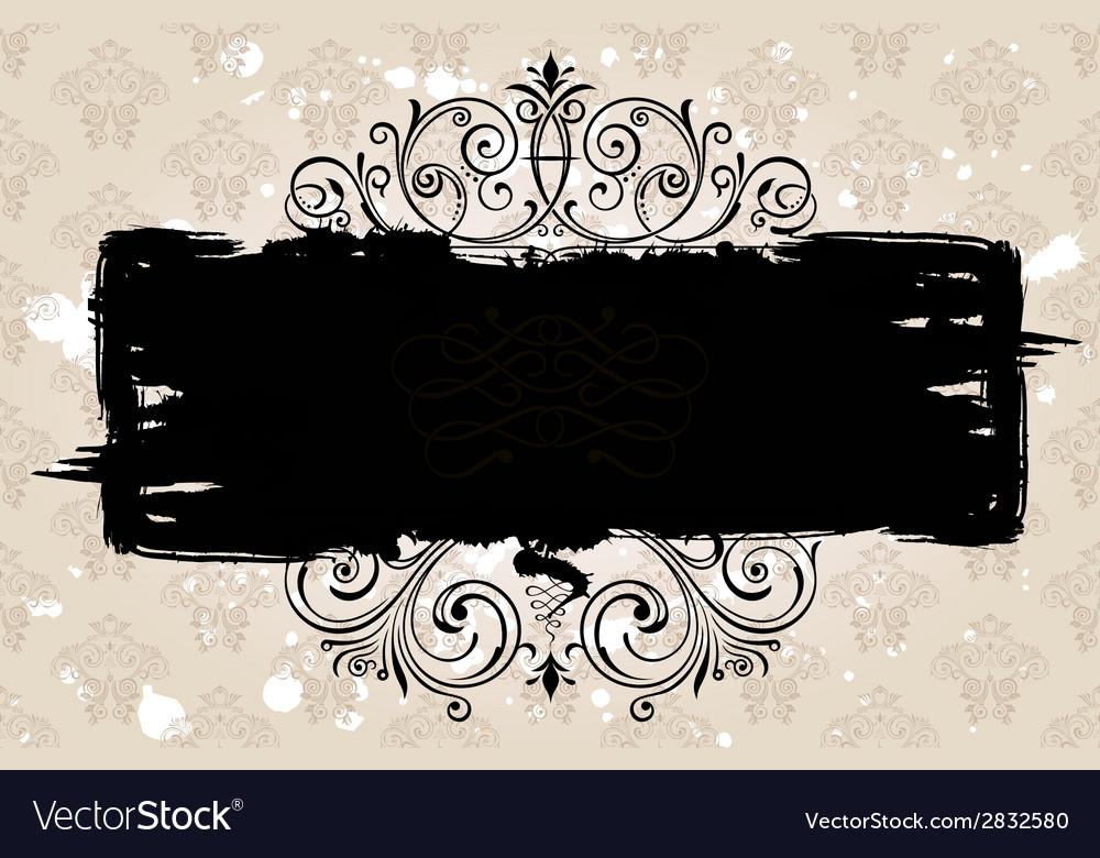 Grunge black banner with old background vintage vector | Price: 1 Credit (USD $1)