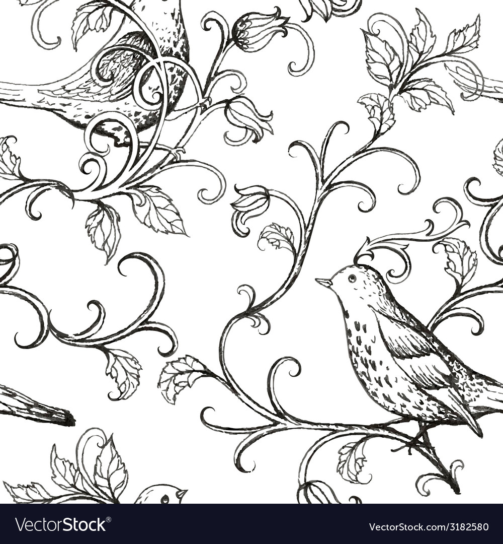 Hand drawn with birds texture pattern vector | Price: 1 Credit (USD $1)