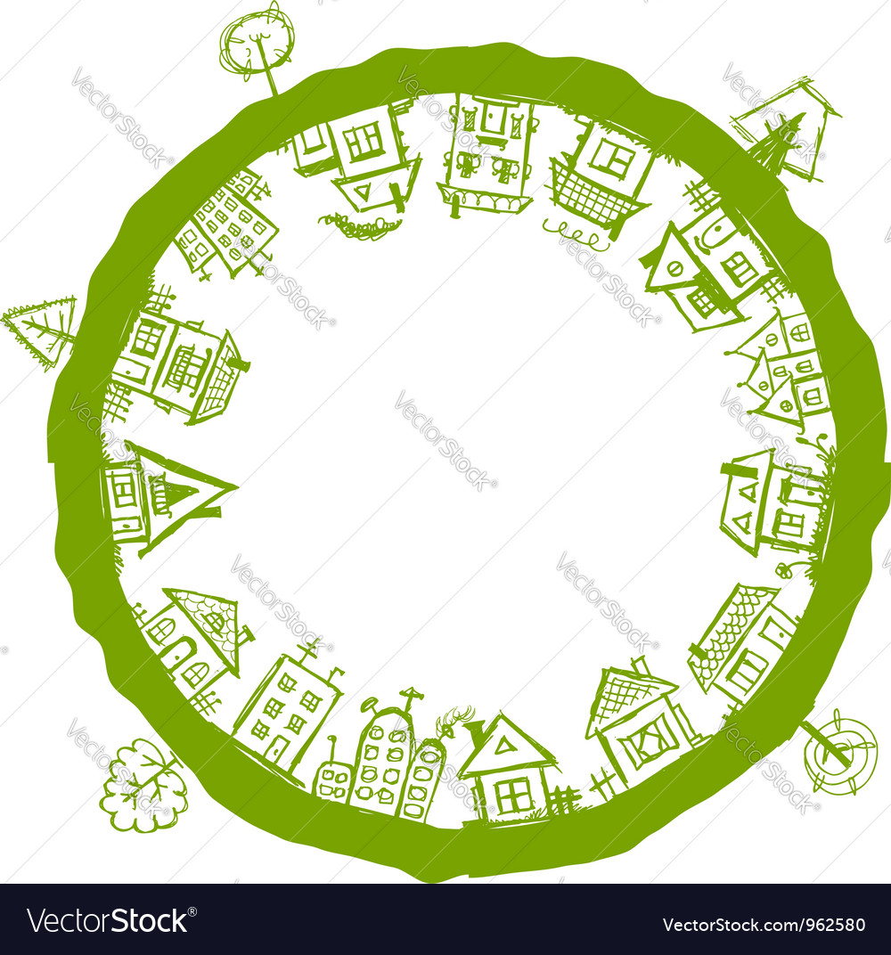 Happy village frame with houses for your design vector | Price: 1 Credit (USD $1)