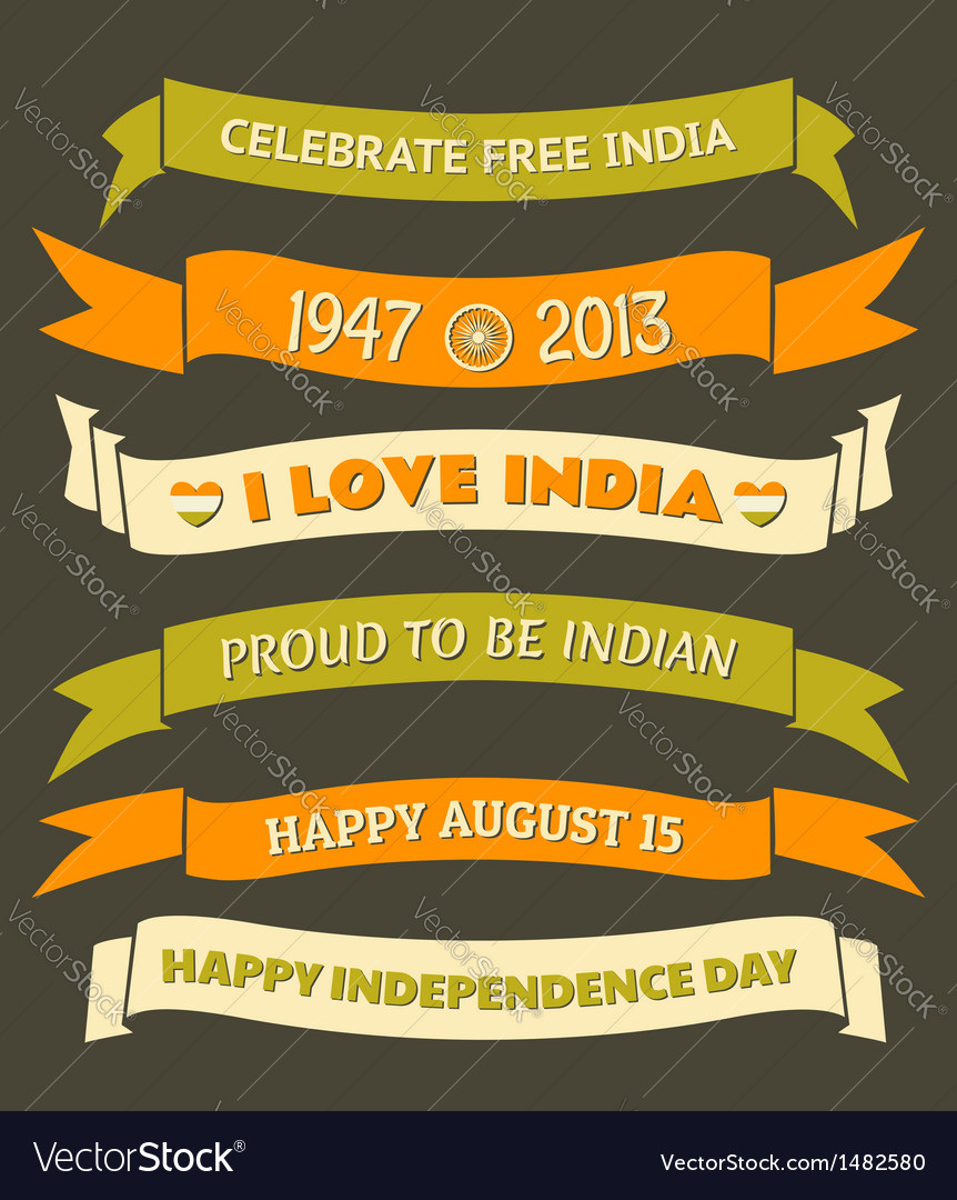 India independence day celebration banners set vector | Price: 1 Credit (USD $1)