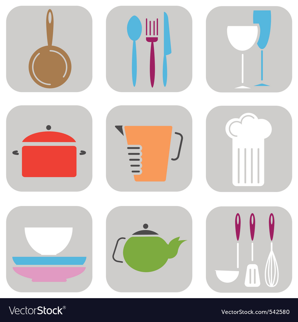 Kitchen tool icons vector | Price: 1 Credit (USD $1)