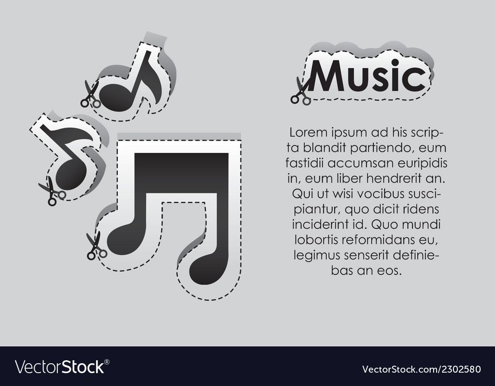 Label with cut lines and the image of musical note vector | Price: 1 Credit (USD $1)