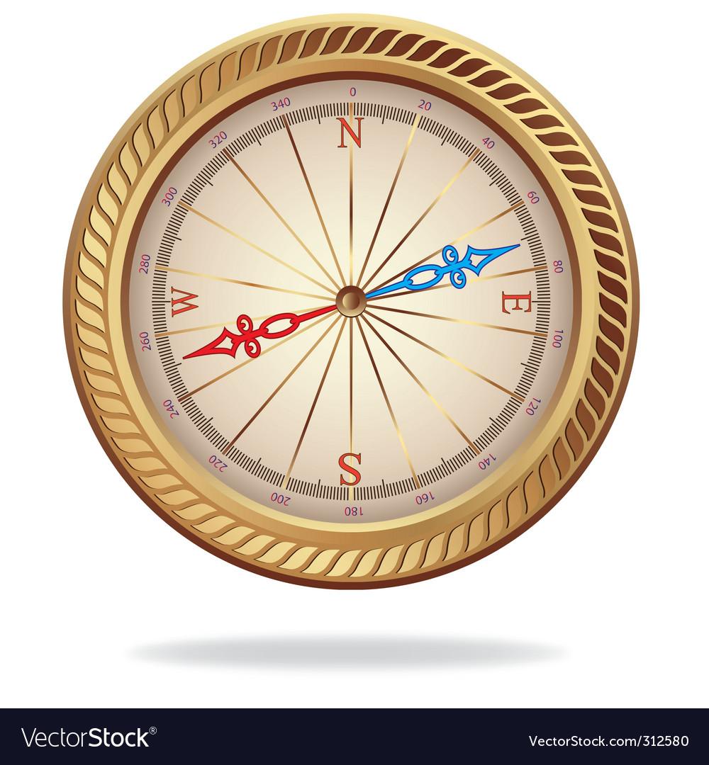 Retro gold compass vector | Price: 1 Credit (USD $1)