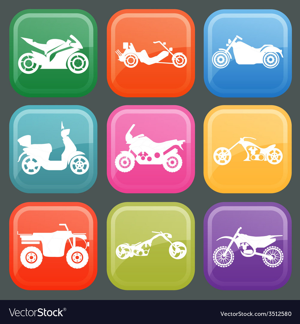Set of nine icons of motorbikes vector | Price: 1 Credit (USD $1)
