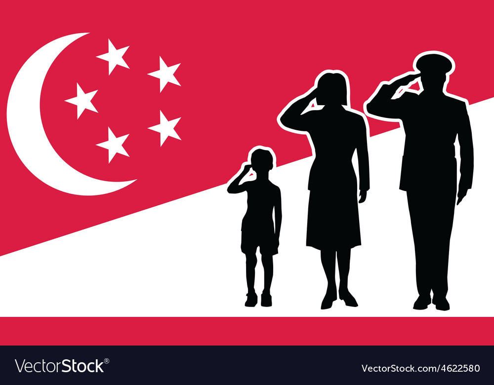 Singapore soldier family salute vector | Price: 1 Credit (USD $1)