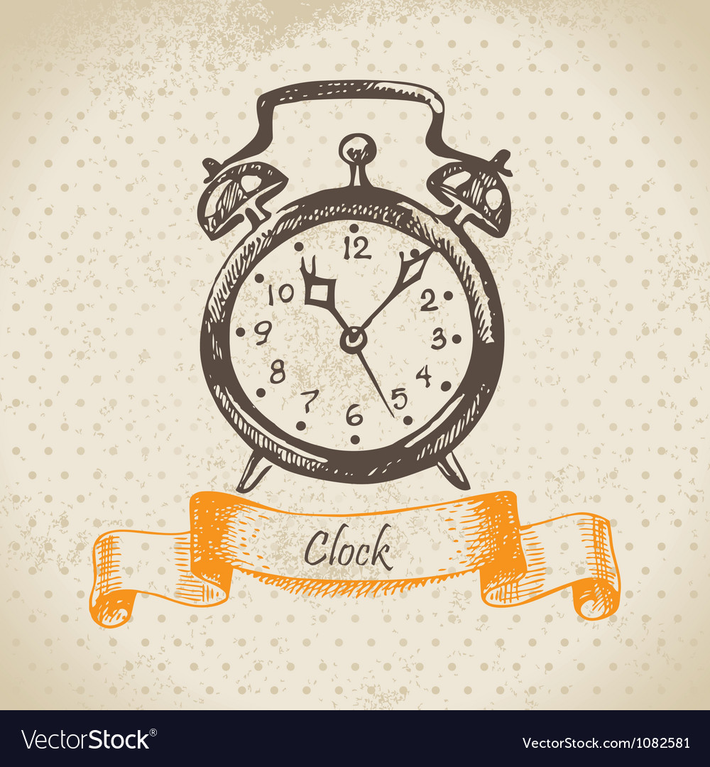 Alarm clock hand drawn vector | Price: 1 Credit (USD $1)