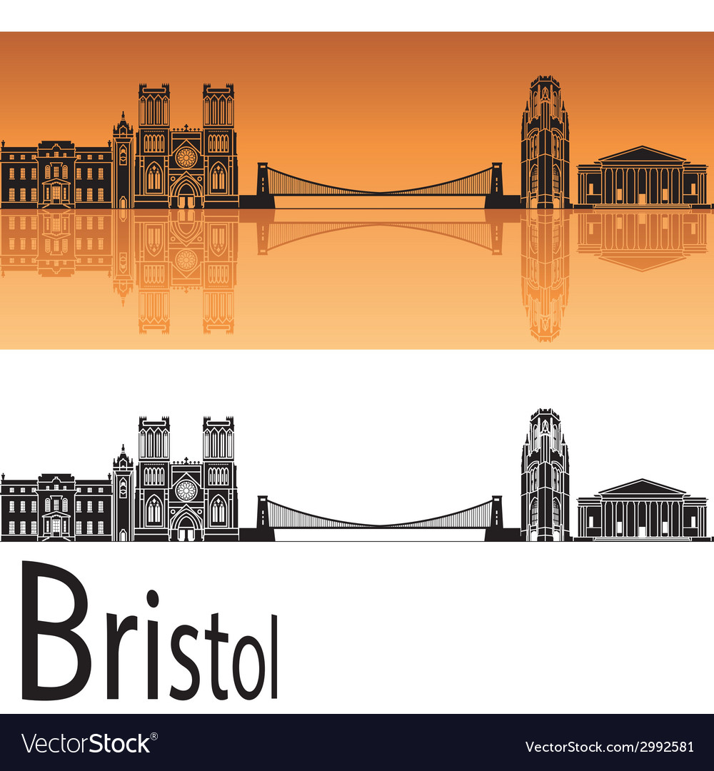 Bristol skyline in orange background vector | Price: 1 Credit (USD $1)