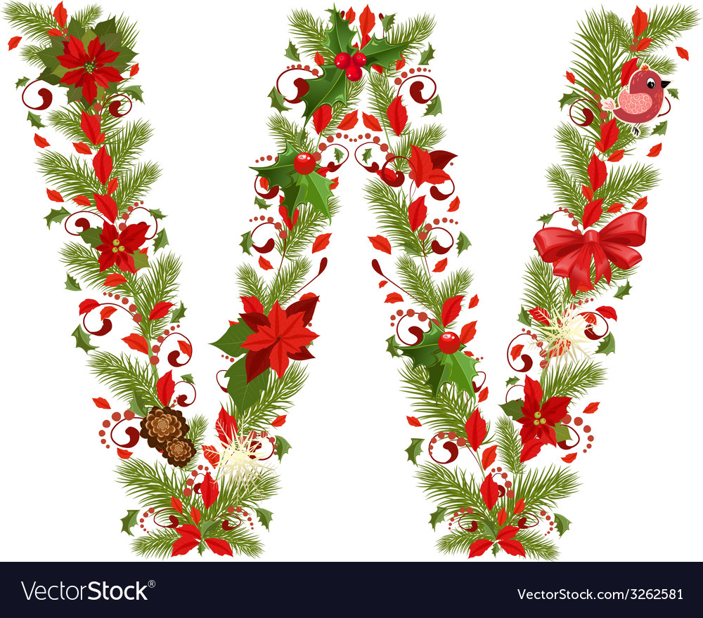 Christmas floral tree letter w vector | Price: 1 Credit (USD $1)