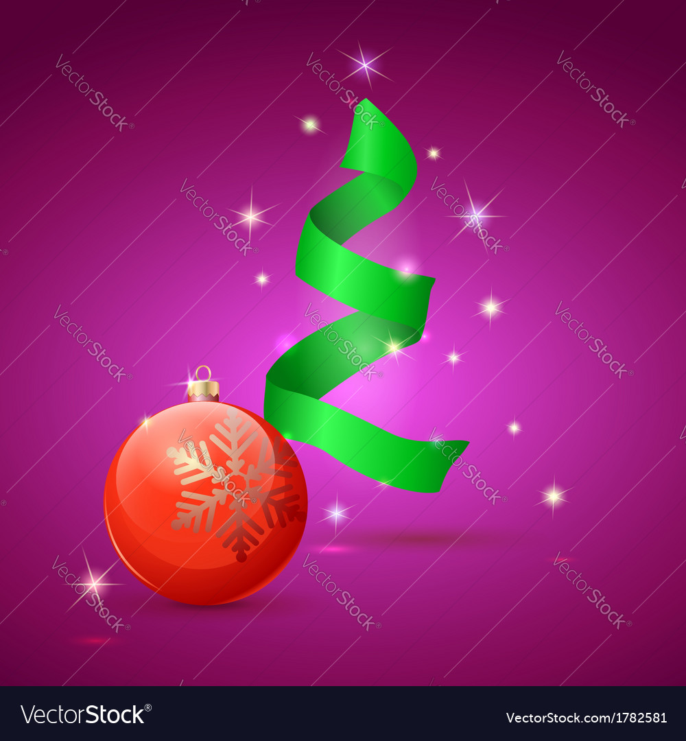 Christmas tree and ball on green background vector | Price: 1 Credit (USD $1)