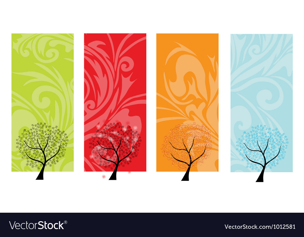 Four seasons banners vector | Price: 1 Credit (USD $1)