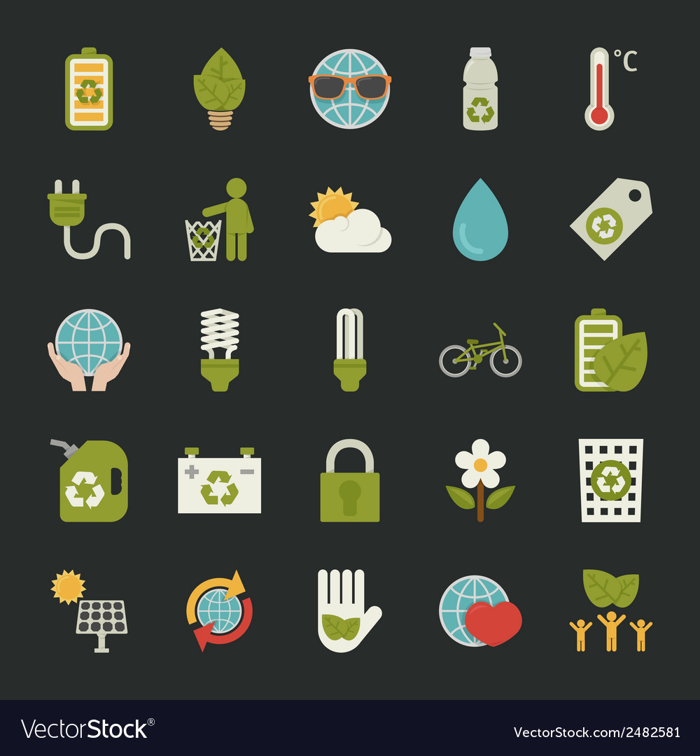 Green eco icons set vector | Price: 1 Credit (USD $1)