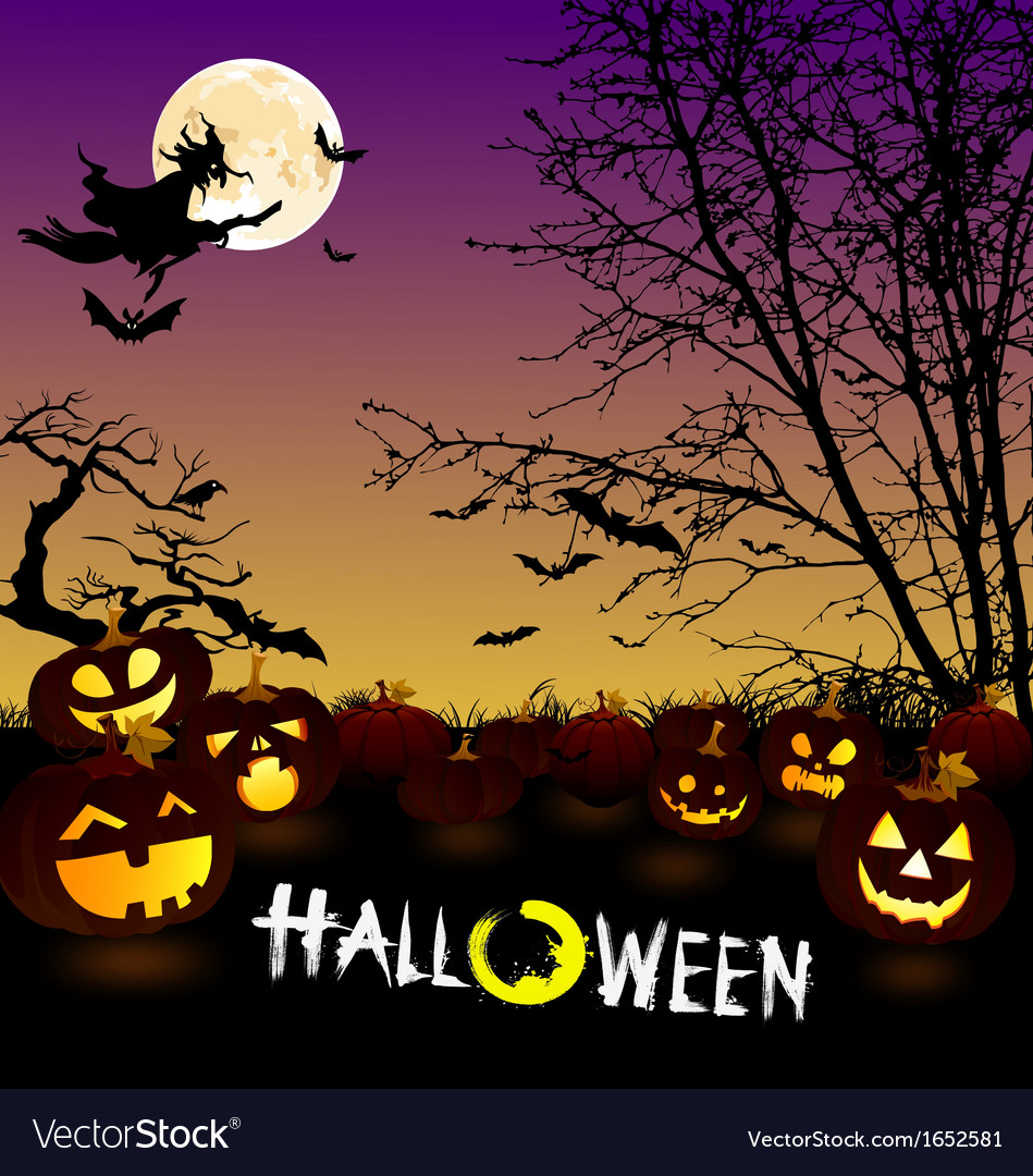 Halloween scene vector | Price: 1 Credit (USD $1)