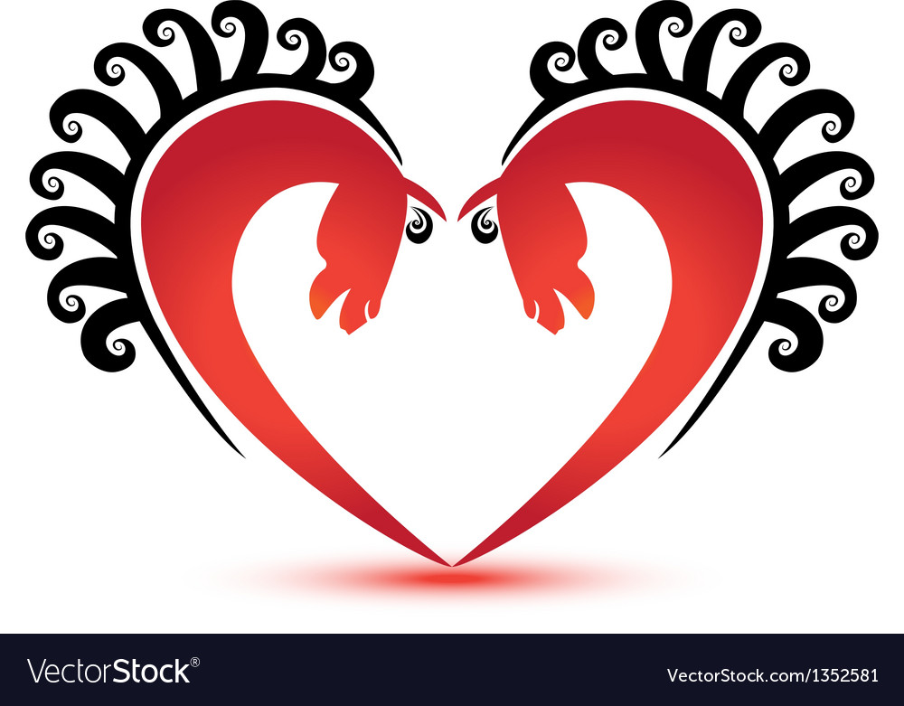 Horses and heart shape logo vector | Price: 1 Credit (USD $1)