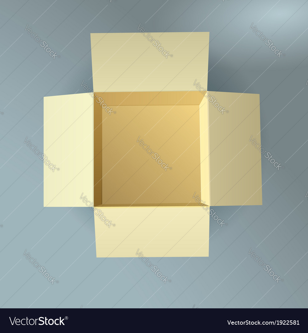 Open cardboard box corrugated top view with soft vector | Price: 1 Credit (USD $1)