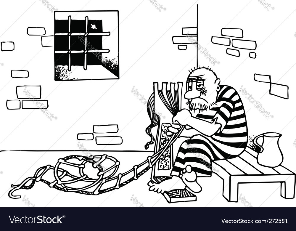 Prisoner escapes from jail vector | Price: 1 Credit (USD $1)