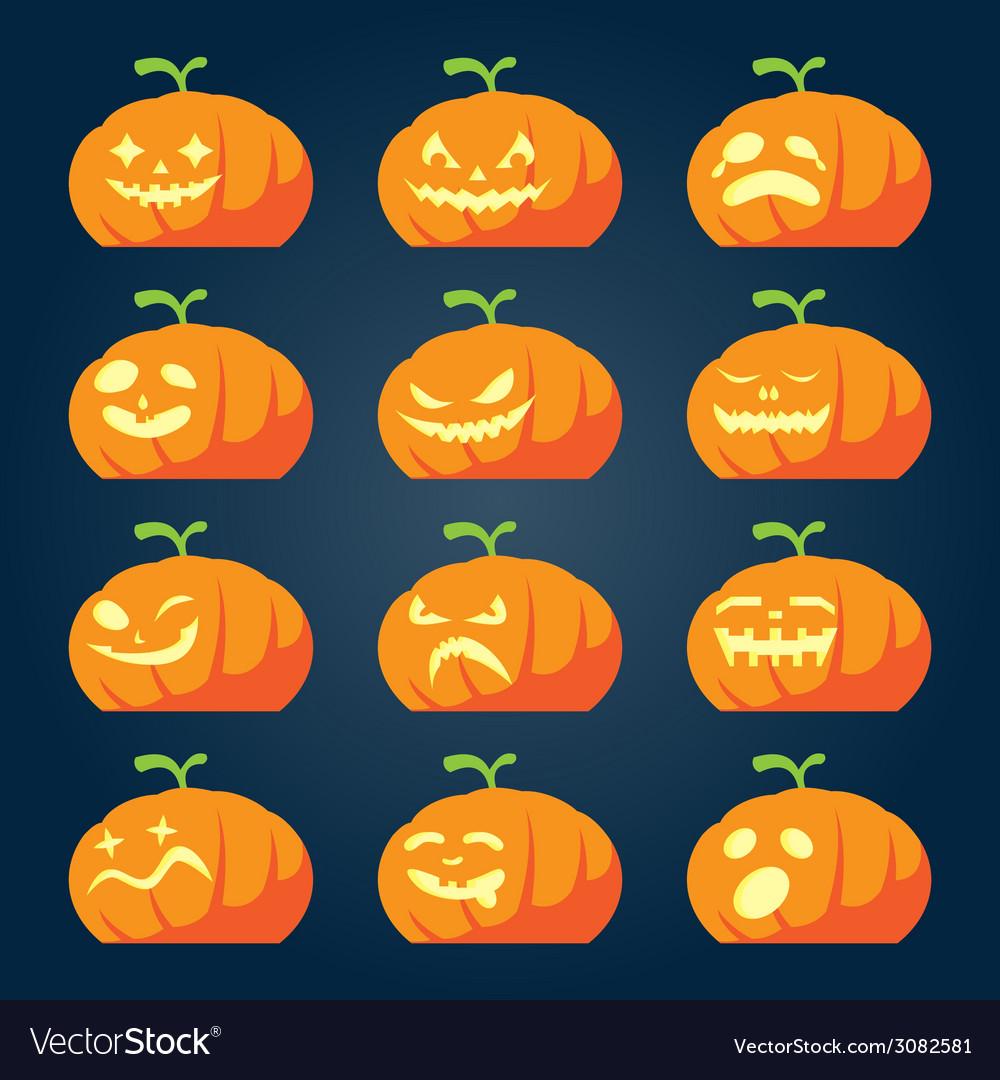 Set of halloween pumpkin faces vector | Price: 1 Credit (USD $1)