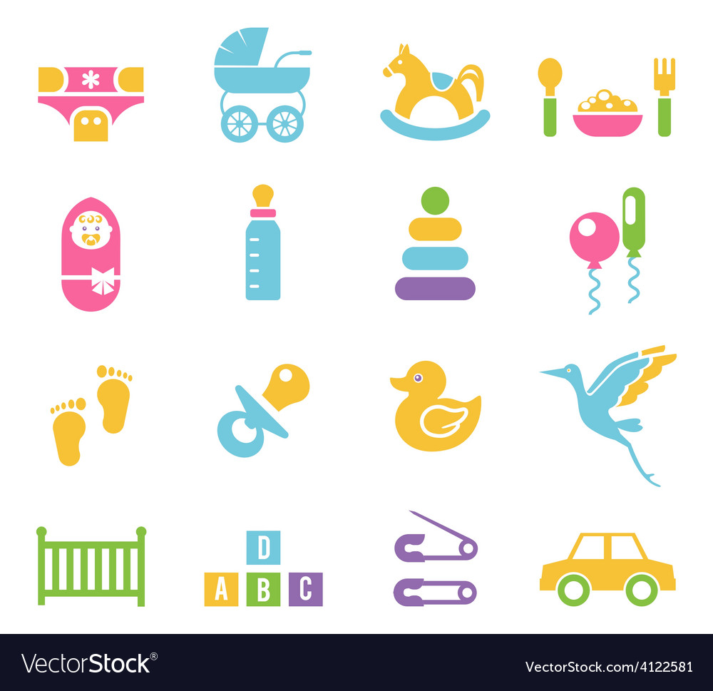 Simple children toys and accessories icons vector | Price: 1 Credit (USD $1)