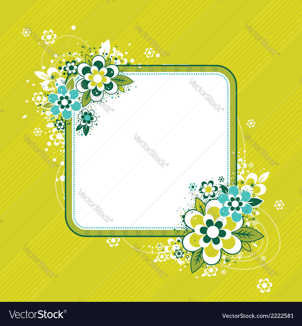 Square frame with flowers on green background vector | Price: 1 Credit (USD $1)