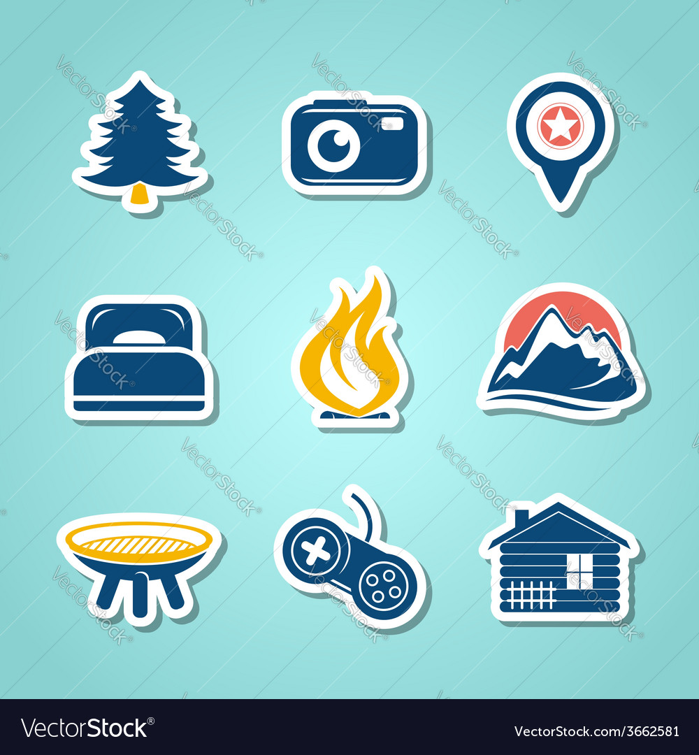 Travel and outdoor paper icons vector | Price: 1 Credit (USD $1)