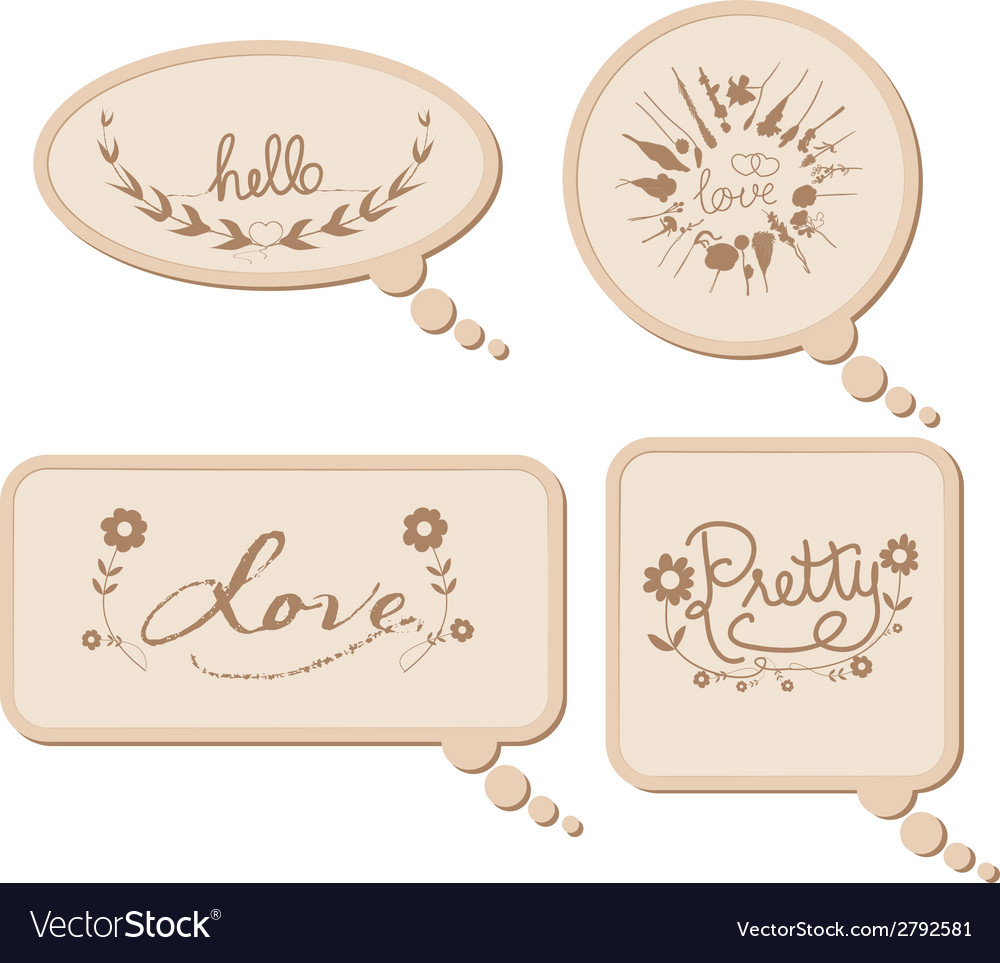 Vintage cardboard bubbles collection vector | Price: 1 Credit (USD $1)