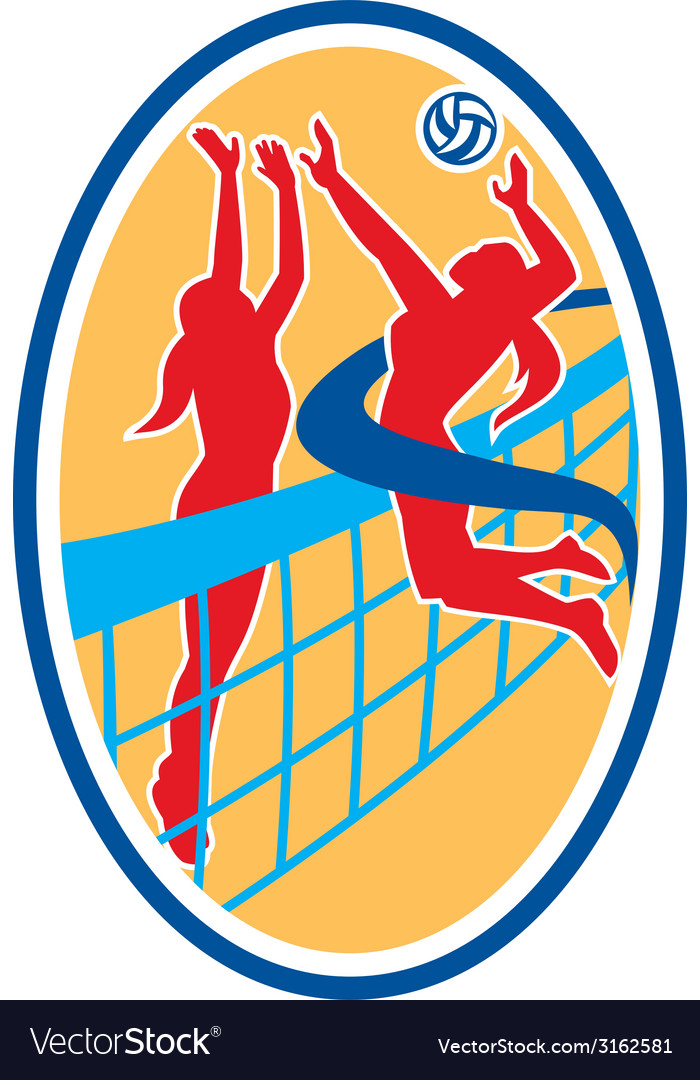 Volleyball player spiking ball blocking oval vector   Price: 1 Credit (USD $1)
