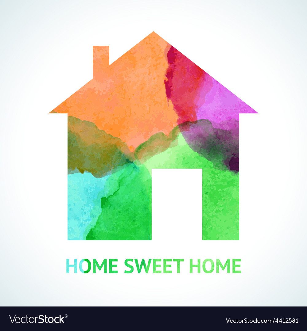 Watercolour sweet home icon on white background vector | Price: 1 Credit (USD $1)