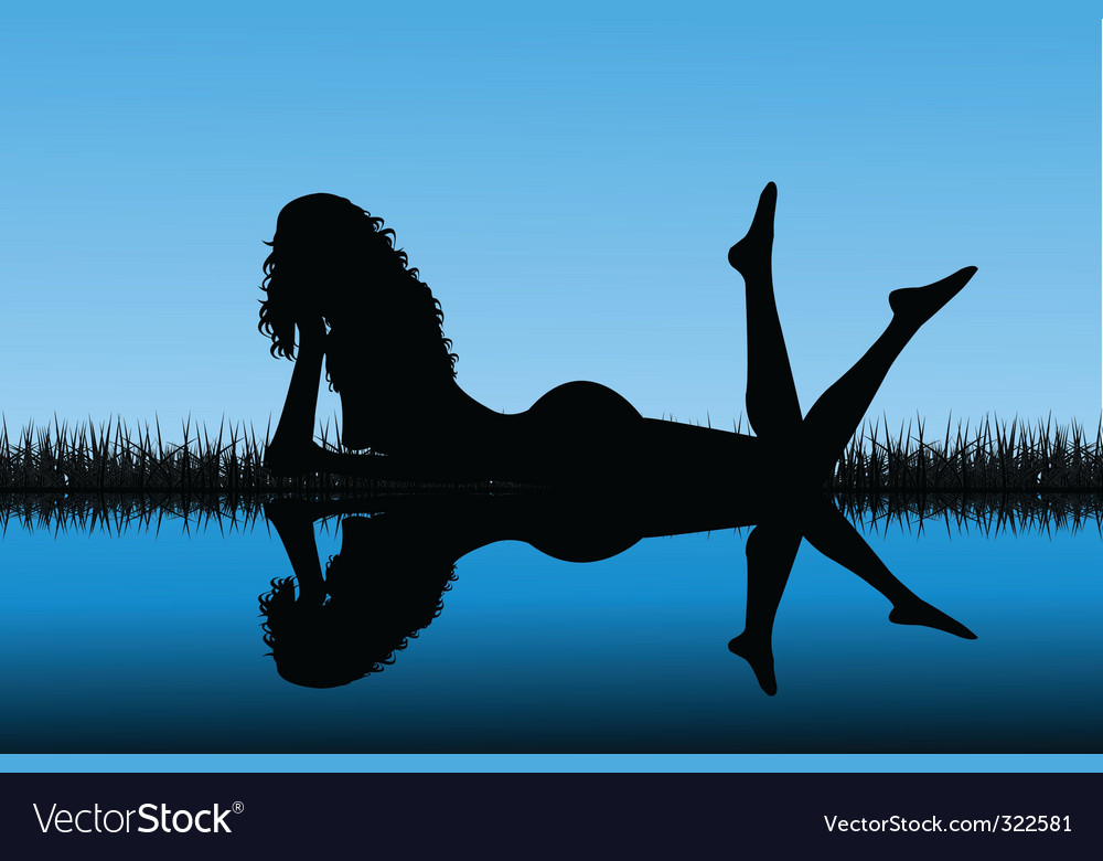 Woman silhouette reflected on water vector | Price: 1 Credit (USD $1)