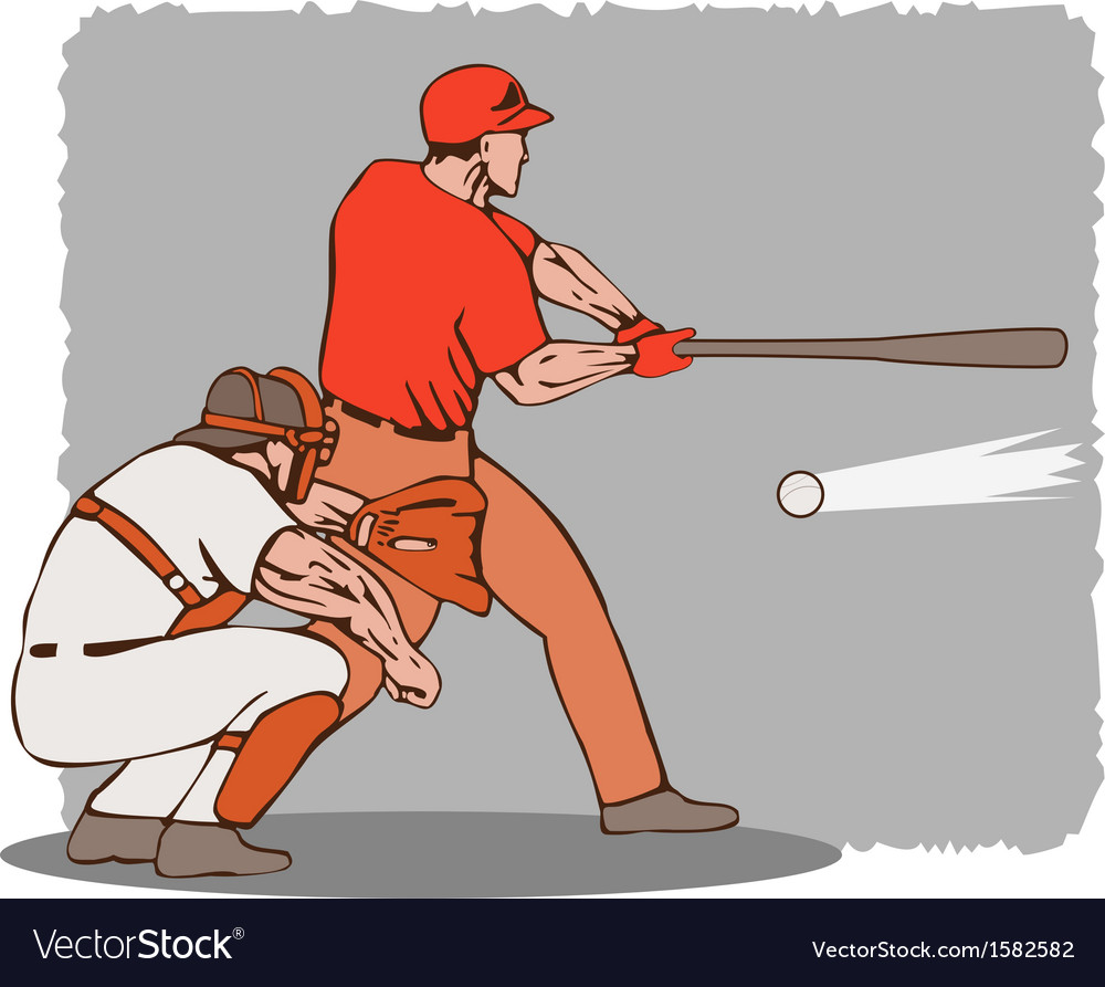Baseball player batter catcher vector | Price: 1 Credit (USD $1)