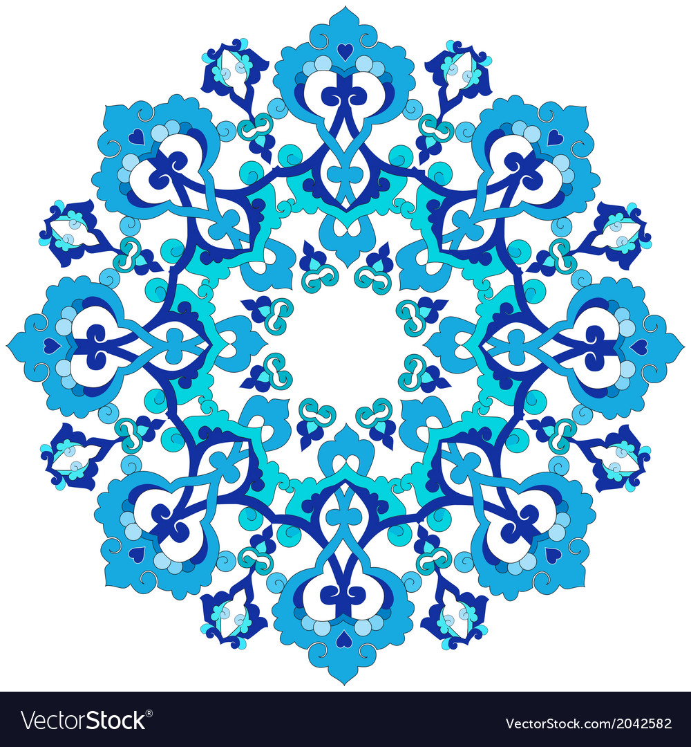 Blue oriental ottoman design thirty three vector | Price: 1 Credit (USD $1)