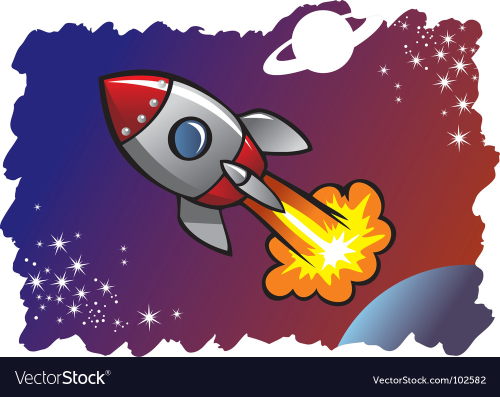 Cartoon spaceship vector | Price: 1 Credit (USD $1)