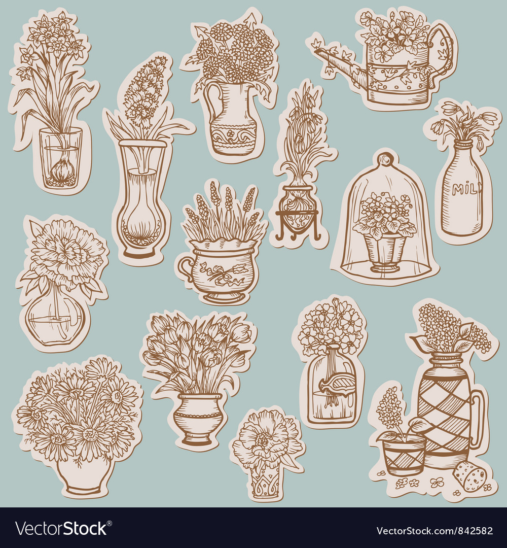 Flower collection on tags vector | Price: 1 Credit (USD $1)