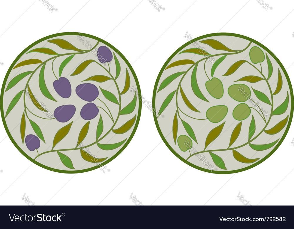 Green and black olives vector
