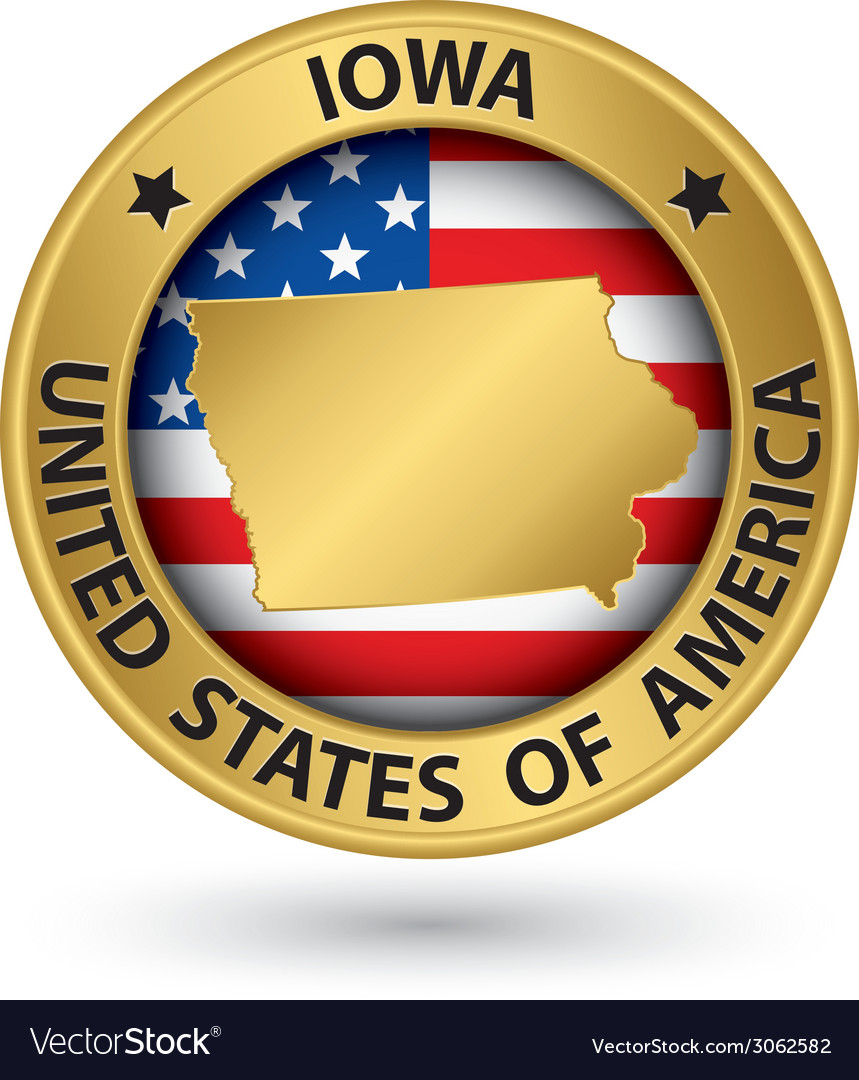 Iowa state gold label with state map vector   Price: 1 Credit (USD $1)