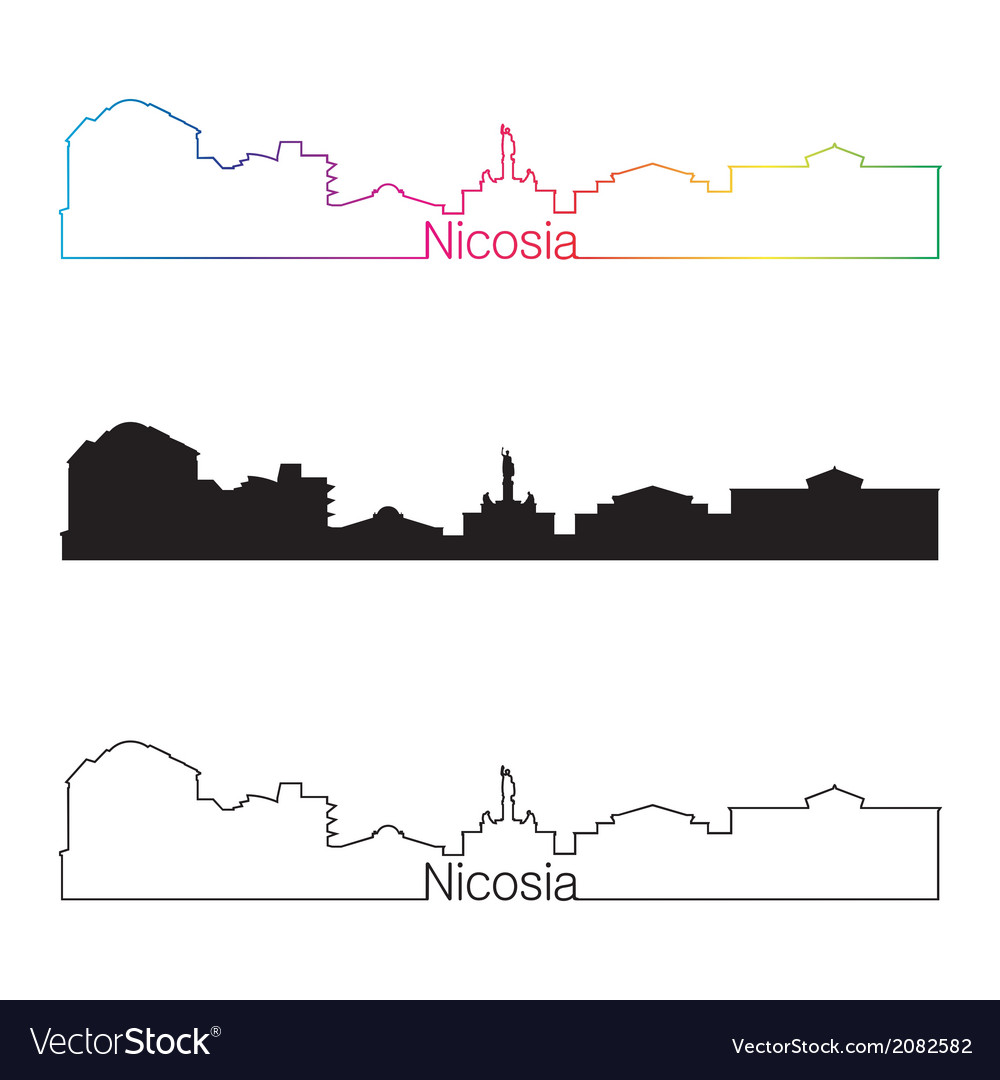 Nicosia skyline linear style with rainbow vector | Price: 1 Credit (USD $1)