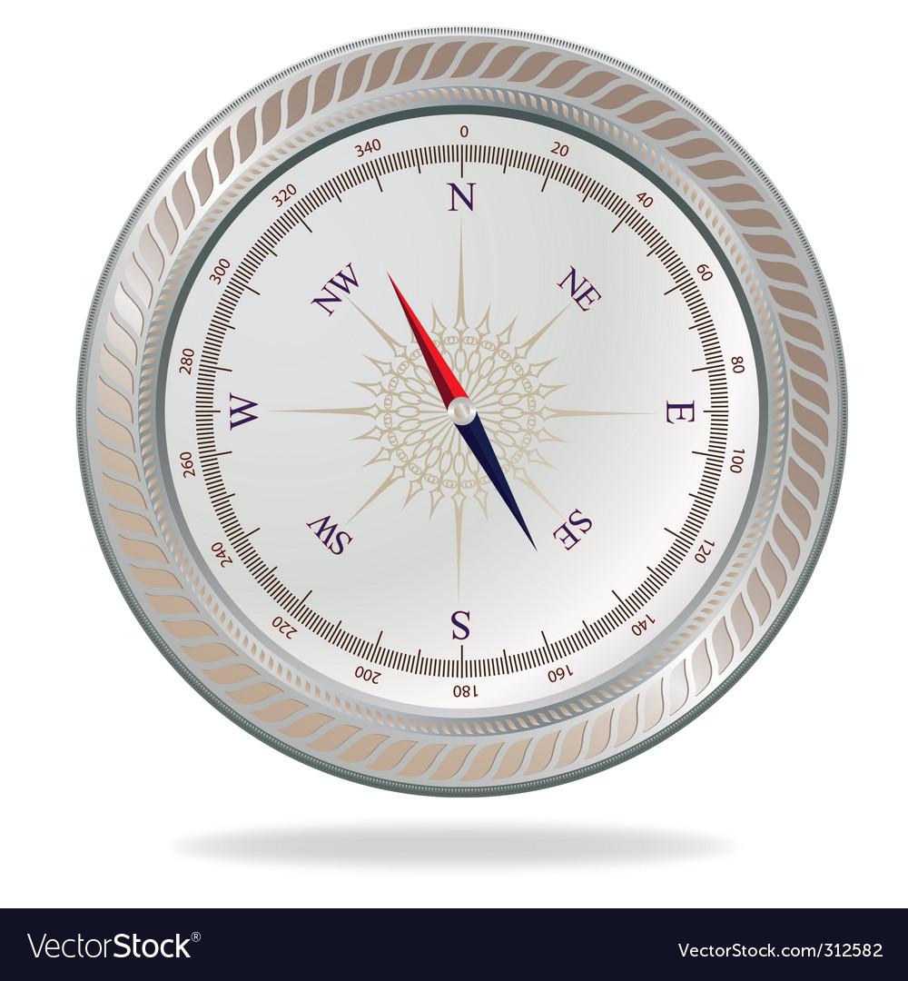 Retro silver compass vector | Price: 1 Credit (USD $1)