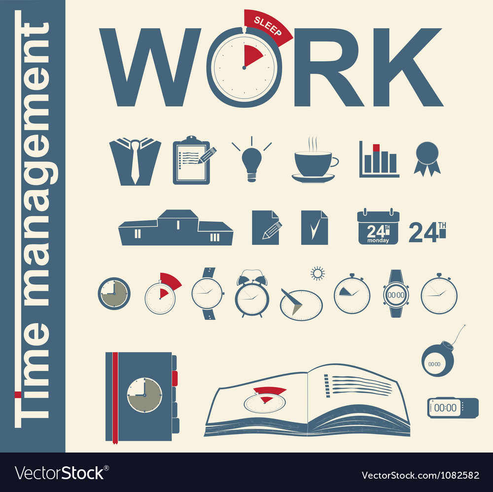 Time management business icons vector | Price: 1 Credit (USD $1)