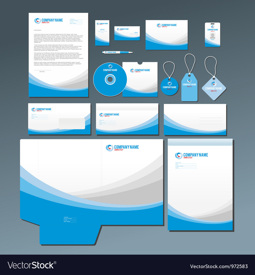 Blue stationery set vector | Price: 1 Credit (USD $1)