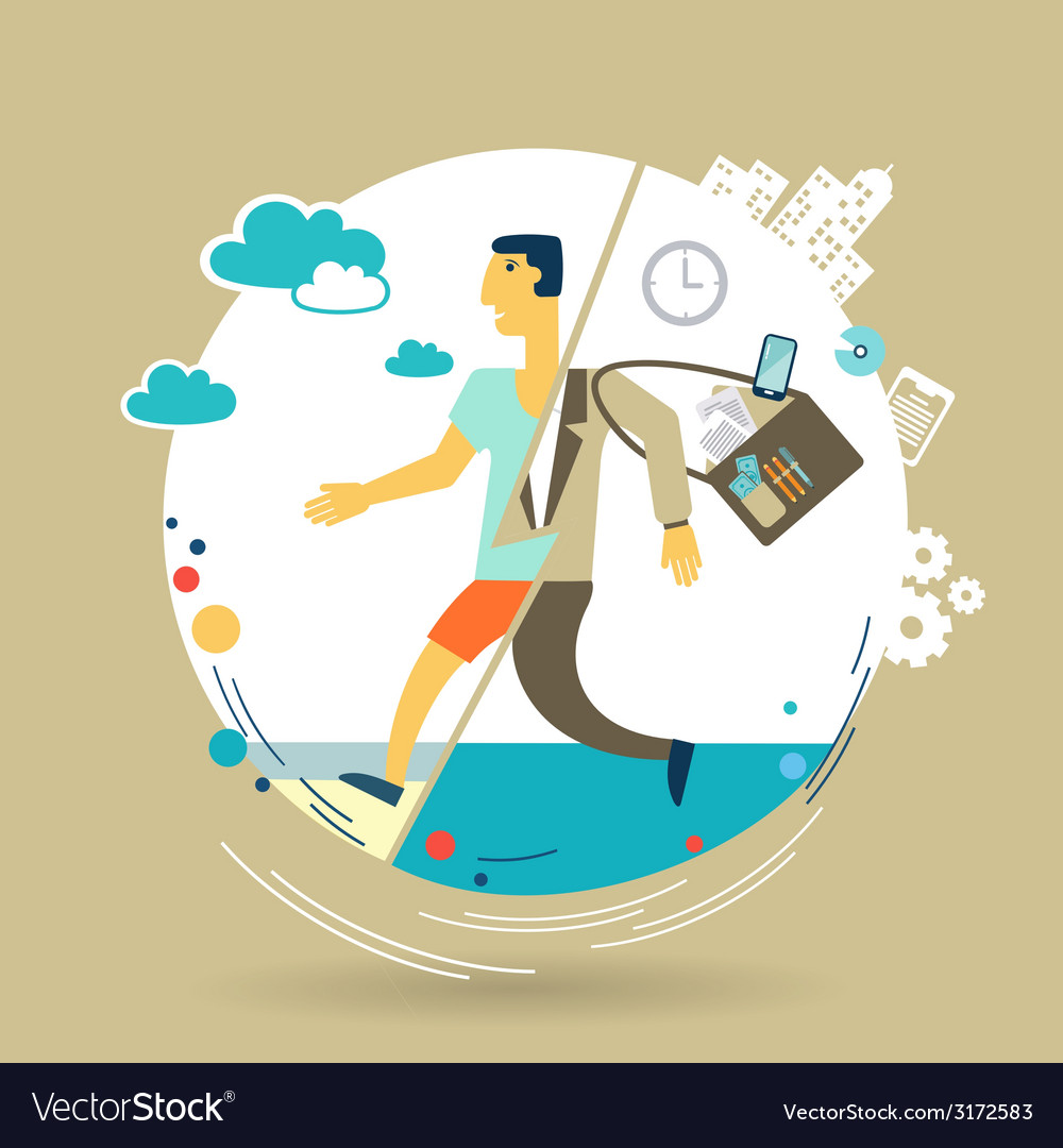 Businessman escapes from work to rest vector | Price: 1 Credit (USD $1)