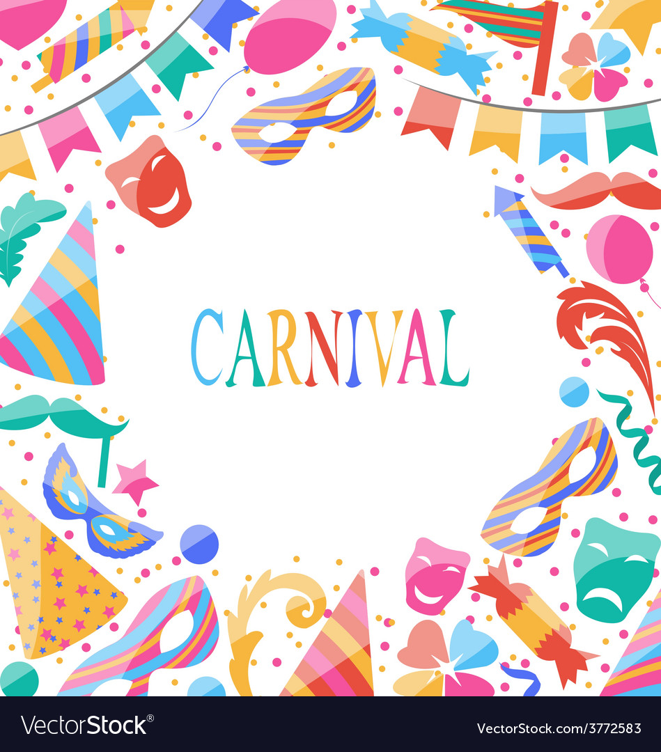 Celebration carnival card with party colorful vector